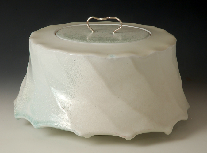 'Floe' Faceted Jar with silver handle